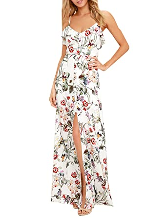 2fb80eb6ea Blooming Jelly Ladies Dress Flower Printed V-Neck Strappy Ruffled Hem  Buttoned Backless High Splited A-Line Sun Maxi Dresses for Women Summer   Amazon.co.uk  ...