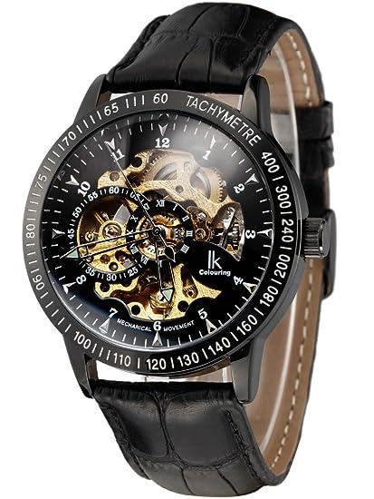 Alienwork IK Reloj Mecánico Automático Relojes Automáticos Hombre Mujer Piel de Vaca Negro Analógicos Unisex Impermeable