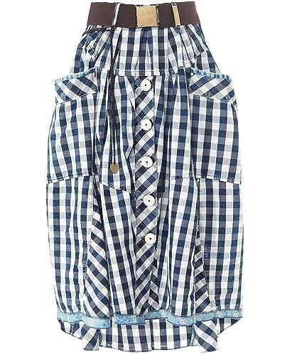 High Mujeres falda de verificación guinga charada asimétrica Azul 42