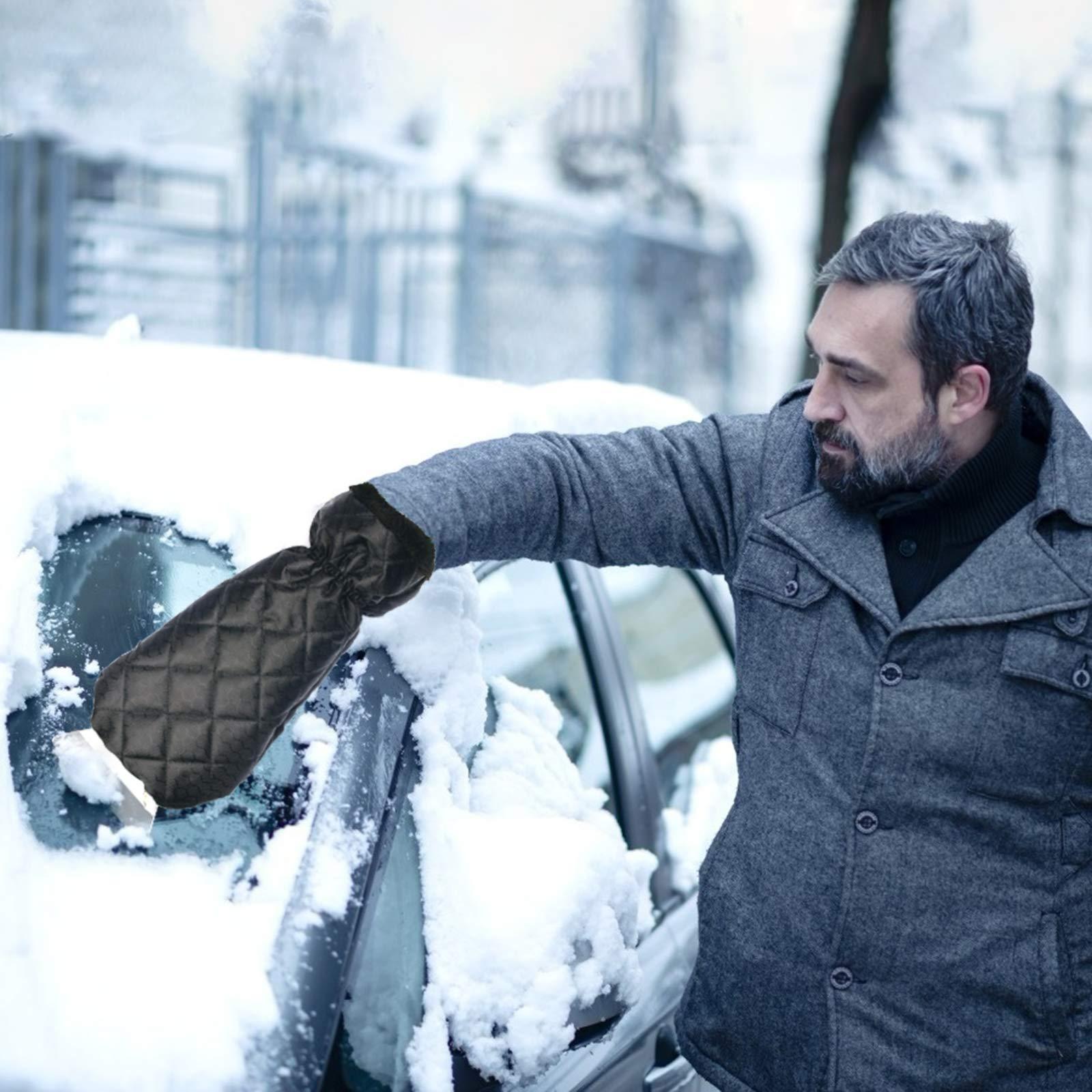 TAZEMAT Snow Scraper with Glove Waterproof Ice Scraper Mitt for Car Windscreen Windshield Window Snow Scraper Removal Glove with Elastic Wristband Antifreeze Ice Scraping Mitten Shovel Tool (Black)