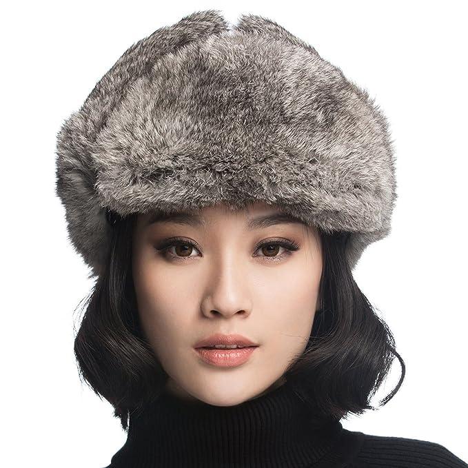 Ursfur Uschanka Schiwago - Berretto invernale in vera pelliccia di coniglio  e pelle 7d6eaef6644c