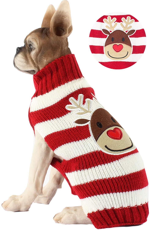 L BOBIBI Pet Cartoon Christmas Elk Dog Sweater Cat Clothes