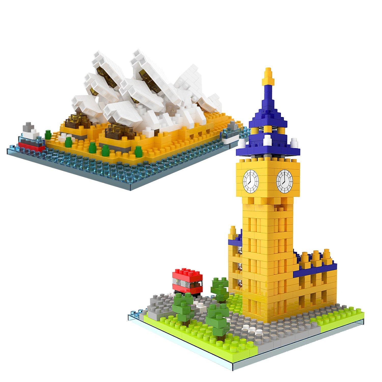 Nanoblock Architecture Mini Building Blocks for Kids, Boys, Girls, Adults, Goodie Bags Fillers, Party Favors, 883 pcs