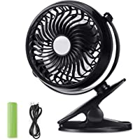 Wellking Battery Operated Clip On Mini Desk USB Fan With Rechargeable 2500mAh Battery 360°Rotation, Adjustable Speed. Cooling Portable Small Stroller Fan for Baby Car Seat Travel, (Color May Be Vary)