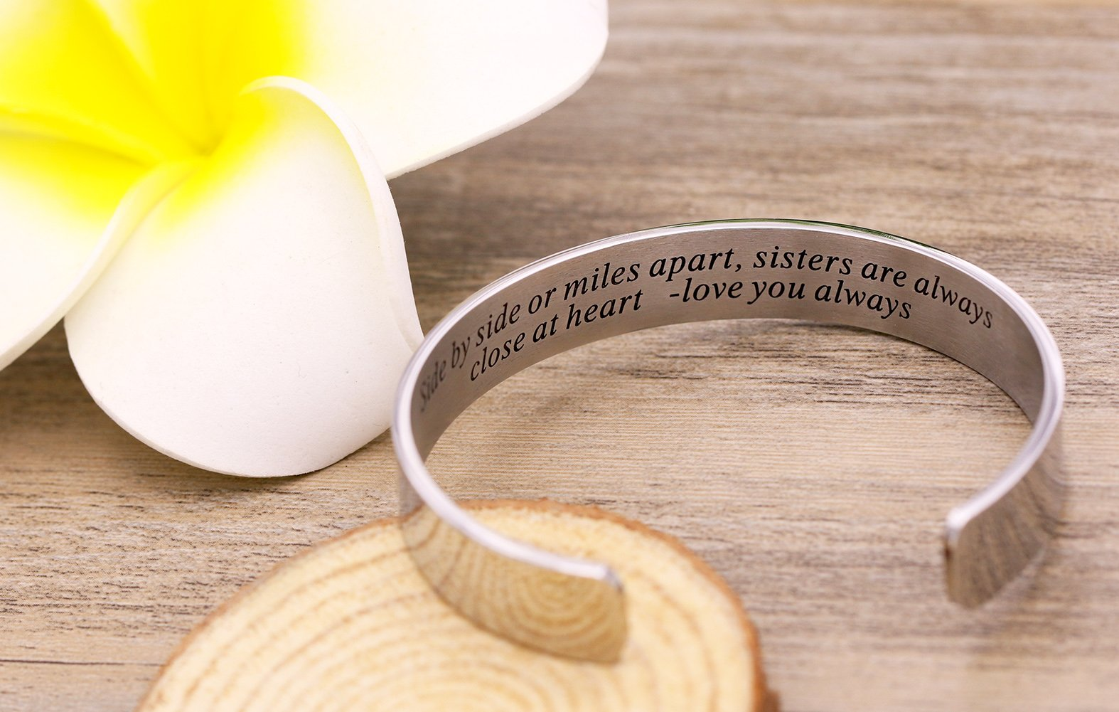 Side By Side Or Miles Apart Bracelet Stainless Steel . Sister to Sister Gift ,Maid of Honor Gift / Bridesmaids Gifts (White) by Melix Home (Image #4)