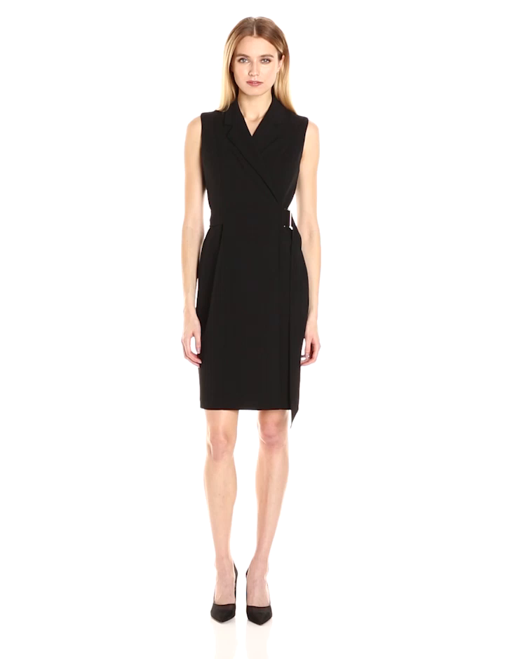 e701070262268 Calvin Klein Women s Sleeveless Notch Collar Faux Wrap Dress with Self Belt  at Amazon Women s Clothing store