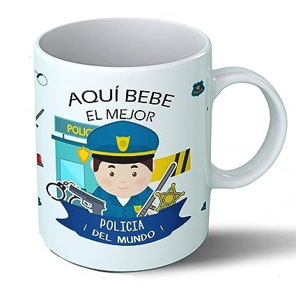 Planetacase Taza Desayuno Aquí Bebe el Mejor policía del Mundo Regalo Original policias Ceramica 330 ML
