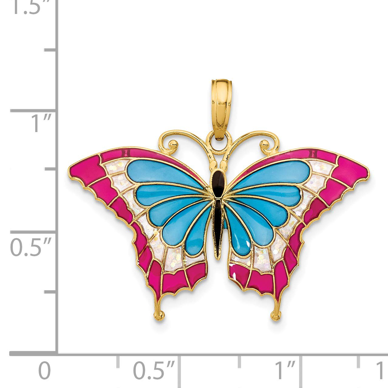 14K Blue /& Pink Enameled Butterfly Pendant