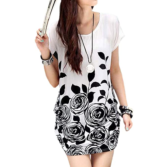 ZANZEA Blusa Camiseta Casual Floral Elegante Oficina Verano Algodón Mangas Cortas para Mujer Blanco EU 52