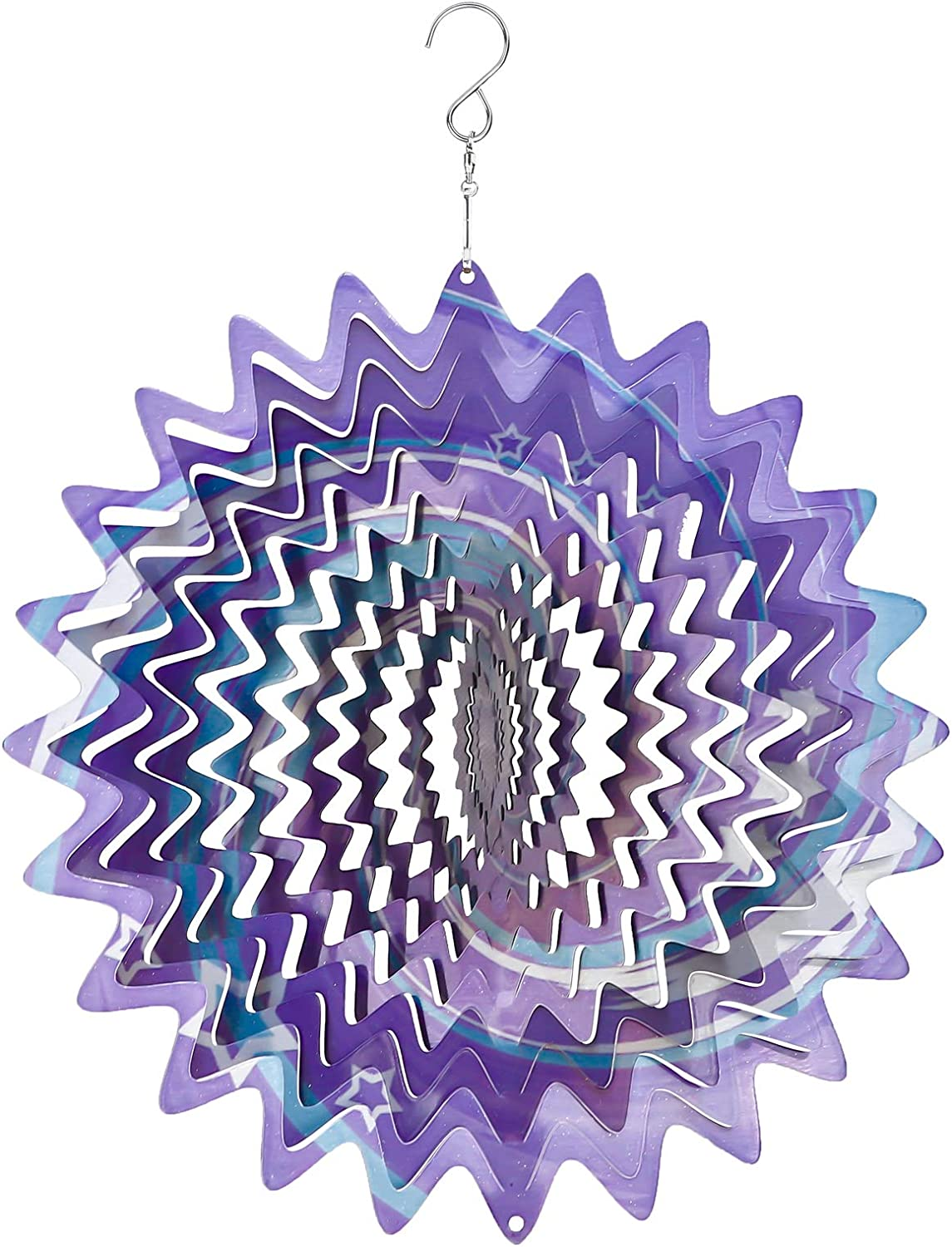 WOGOON Wind Spinners Outdoor Decorations 12 Inches, 3D Metal Wind Catcher Mandalas Art for Yard Garden Patio Home Decor, Multi Color Hanging Pinwheels Lawn Ornaments Gifts (Starry Sky)
