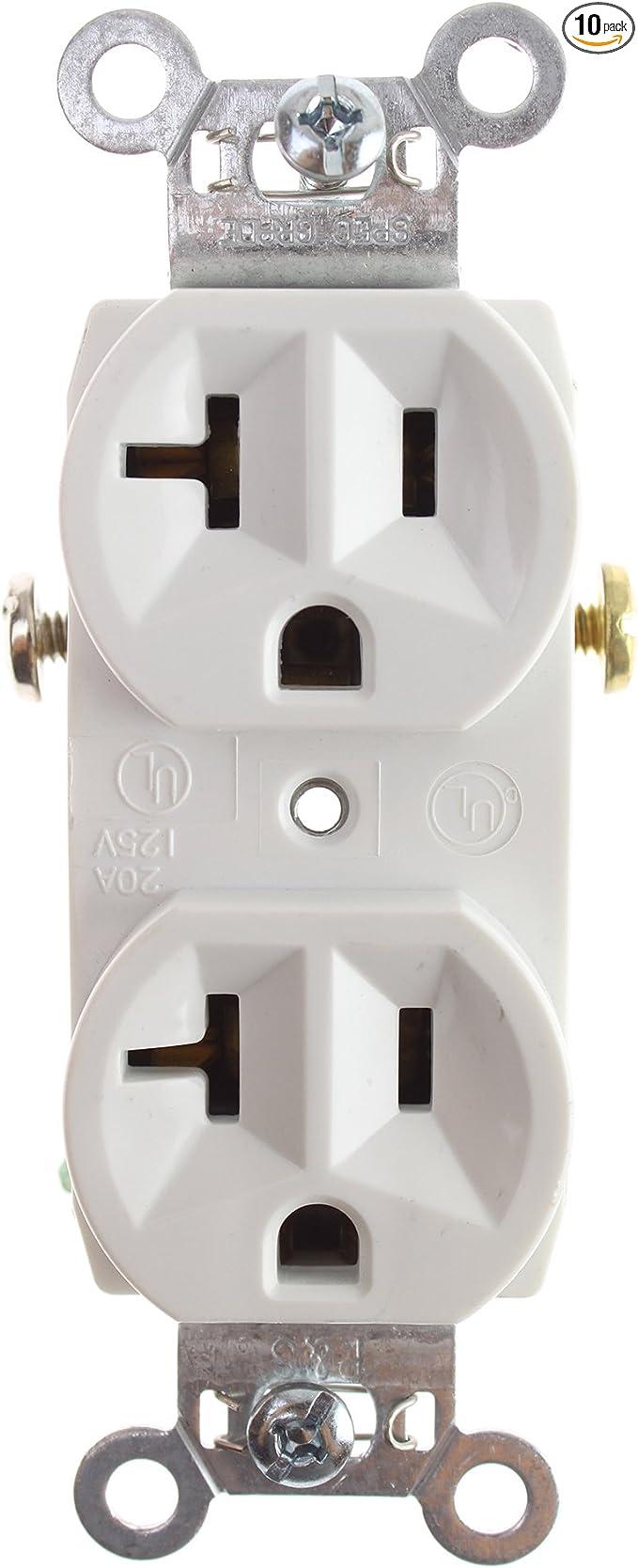 P /& S CR20-W Commercial Spec Grade Duplex Receptacle 20A 125V 5-20R White