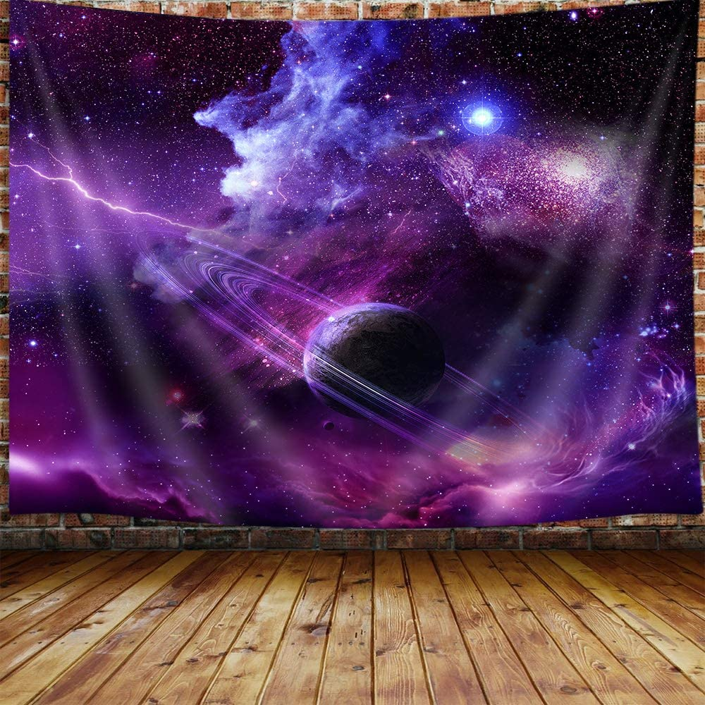 Purple Galaxy Tapestry, Cool Psychedelic Space Art Tapestry Wall Hanging for Bedroom, Blacklight Starry Sky Tapestries Poster Beach Blanket College Dorm Home Decor(60