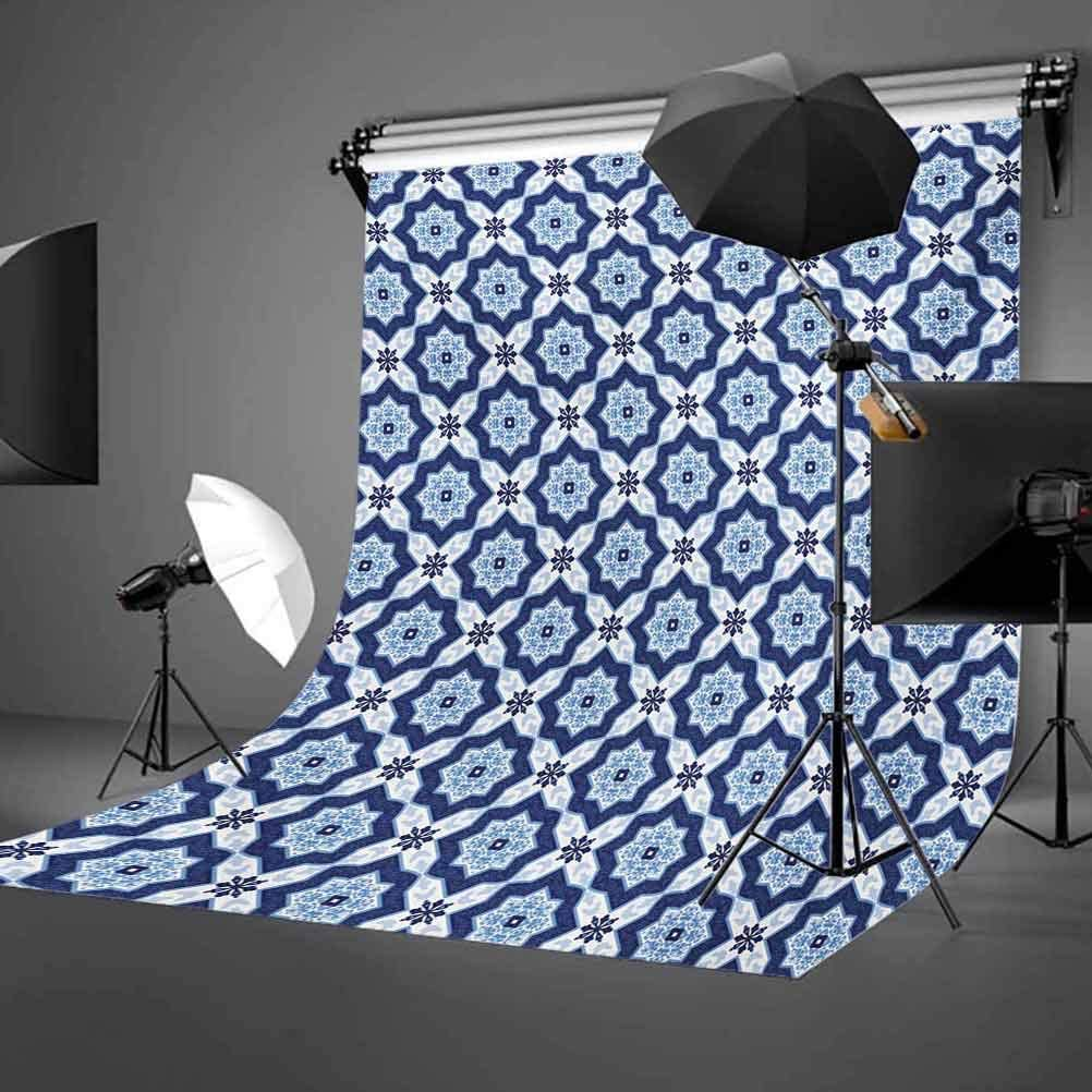 Indigo 10x12 FT Photography Backdrop Oriental Moroccan Ancient Tiles Like Image Floral Details Background for Baby Shower Birthday Wedding Bridal Shower Party Decoration Photo Studio