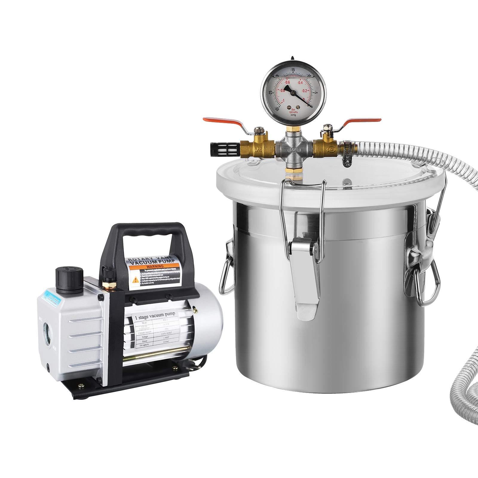 SUNCOO Vacuum Pump Kit,2 Gallon Vacuum Chamber with 5CFM Single Stage Vacuum Pump, Black