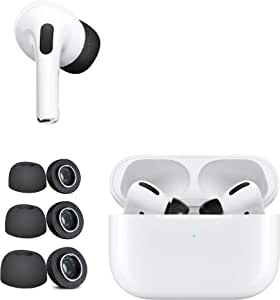 DamonLight [3 Pairs] Memory Foam Ear Tips for Apple AirPods Pro Sponge Silicone Replacement Noise Reducing Eartips Buds S/M/L (Black)