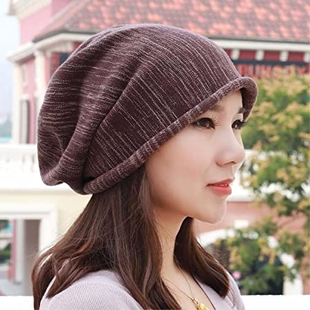 c76081e5b88 SAIBANGZI Pure Cotton Hat Knitted Hat Shaved Head Scarf Cap And Pregnant  Ear Cap For Men And Women In Brown A  Amazon.co.uk  Kitchen   Home