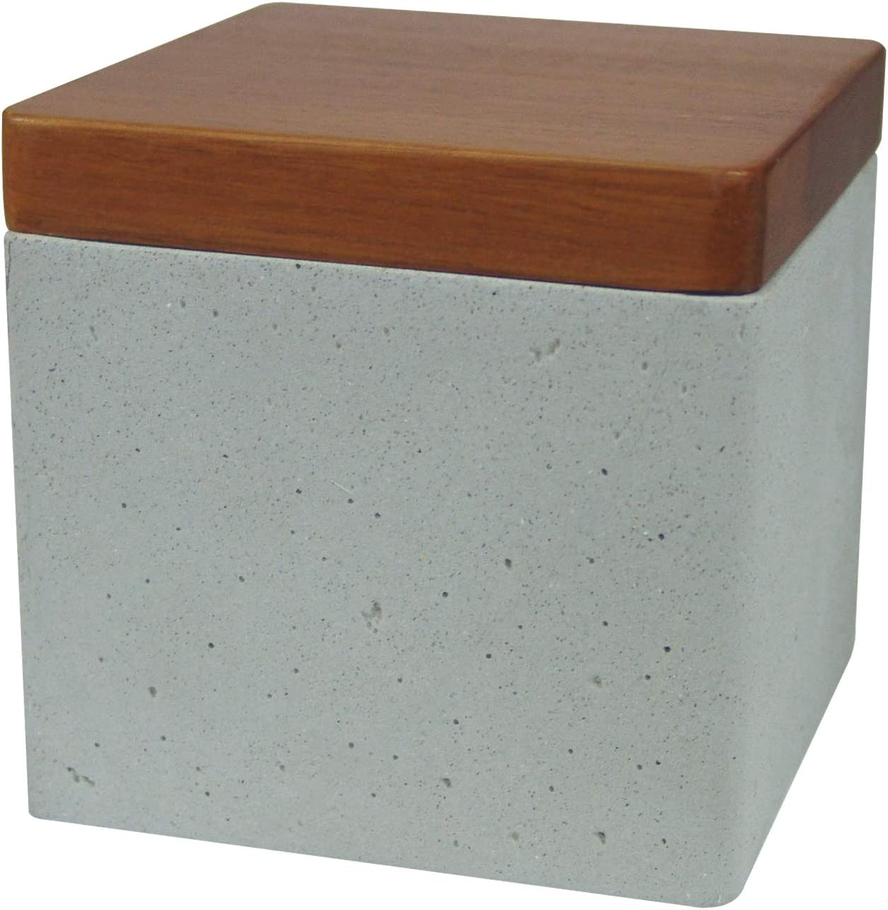 nu steel Nusteel Concrete, Made of Cement Bathroom Vanity Countertop Storage Organizer Canister Jar for Cotton Swabs, Rounds, Balls, Makeup Sponges, Bath Salts, Grey Stone/Brown