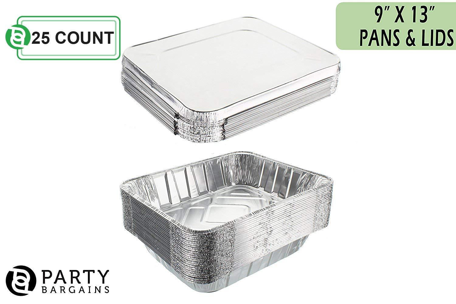 Aluminum Foil Pans | Disposable Pan Containers with Lids Set | Excellent for Broiling, Roasting, Grilling, Baking Cakes, Pies, Lasagna, More | 9 x 13 Half Size Deep Steam Table Pans | 25 Count