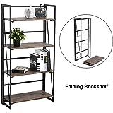 Amazon Price History for:Coavas Folding Bookshelf Rack 4-Tiers Bookcase Home Office Shelf Storage Rack No-Assembly Industrial Stand Sturdy Shelf Organizer 23.6 X 11.6 X 49.2 Inches