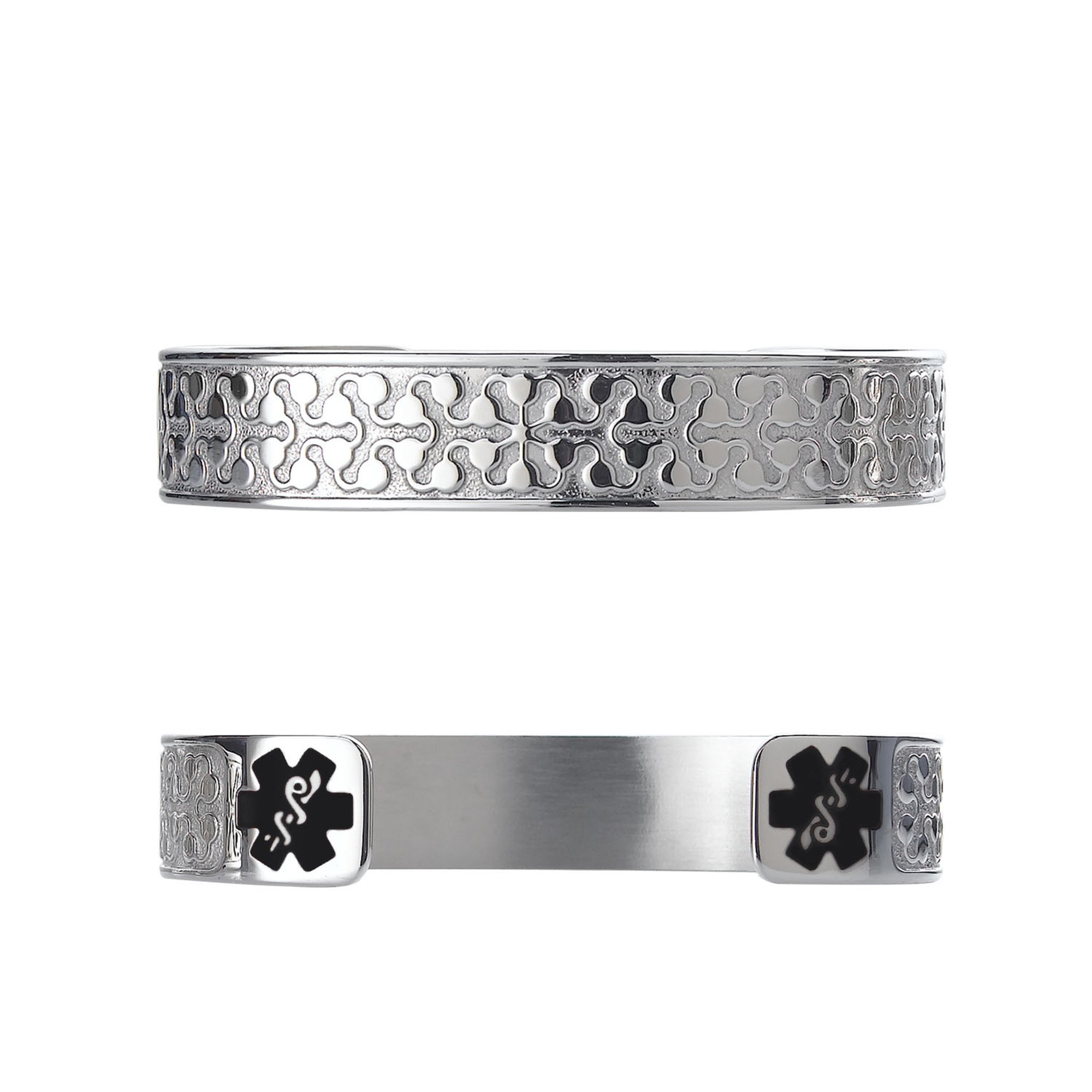 Divoti Custom Engraved Charming Petal 316L Medical Alert Bracelet -6'' Cuff (fits 6.5-8.0'') - Black