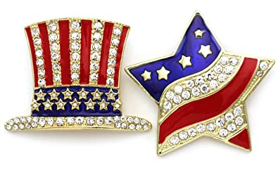 6aa9e5327 Image Unavailable. Image not available for. Color: Patriotic Star Brooch  American USA Flag Hat Pin Independence Day 4th of July ...