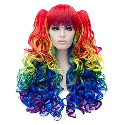 Z Las Mujeres Del Arco Iris largo ondulado peluca cosplay Anime traje fiesta peluca