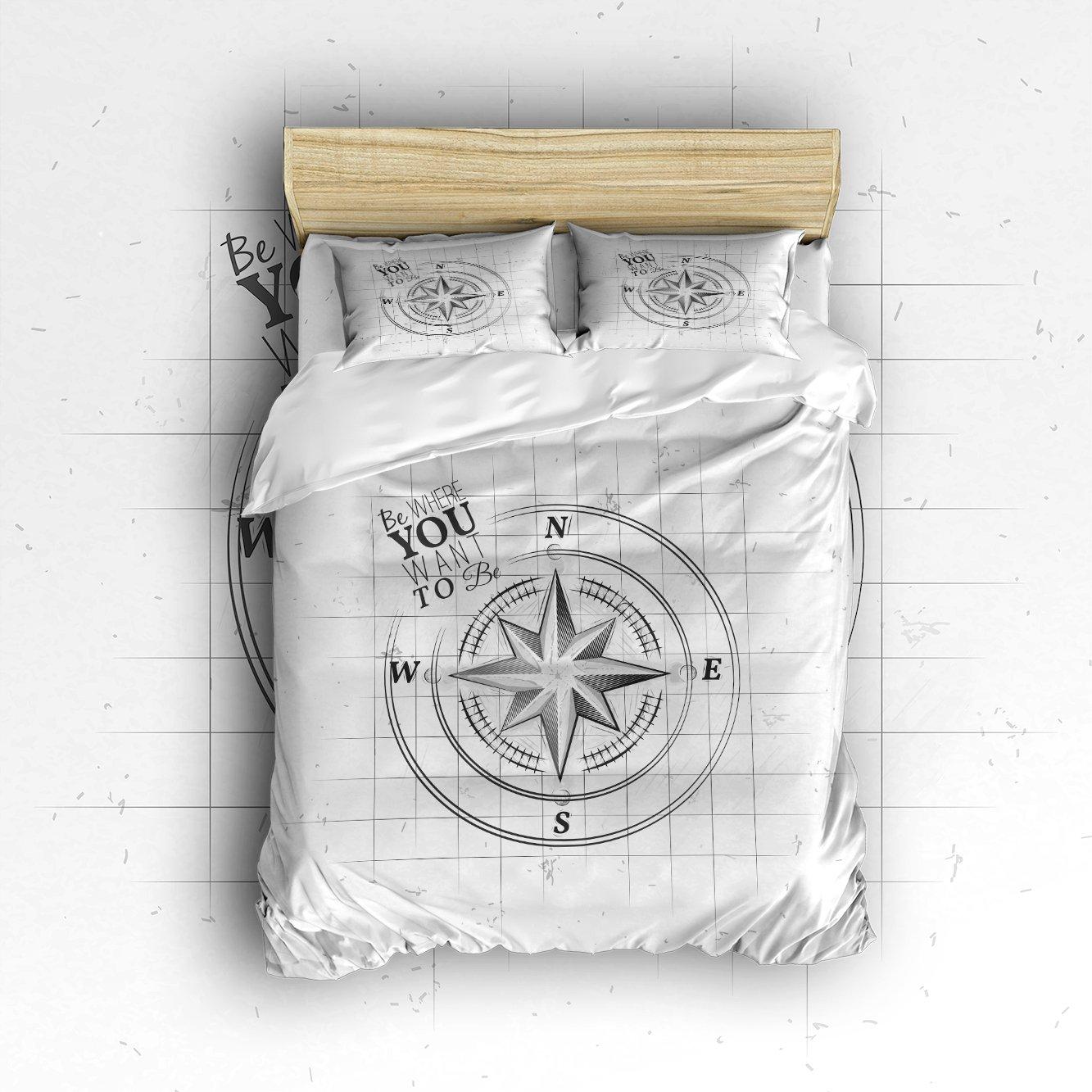 Beauty Decor Bedding 4 Piece bed Set Duvet Cover,compass pattern 4 Piece Bed Sheet Set 1 Flat Sheet 1 Fitted Sheet and 29 Pillow Cases