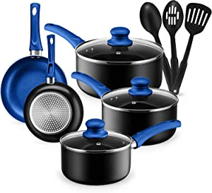 Kitchen Cookware Set, 11 Piece Pots and Pans Set for Cooking Nonstick, Dishwasher Safe Cooking Utensils Set by Chef's Star (Blue)