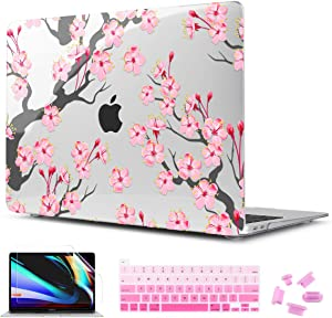 """CISSOOK Hard Shell Case for MacBook Pro 13 inch A2338 M1 A2289 A2251 2020 Released, Cherry Floral Beauty Cover with Keyboard Cover and Screen Protector for 2020 New Pro 13""""- Cherry Blossoms"""
