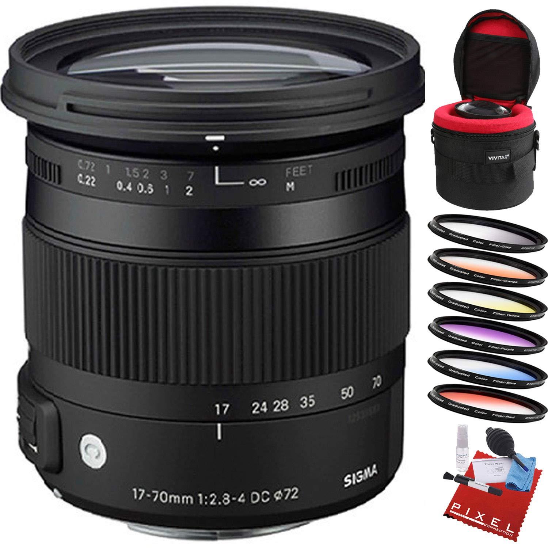 Sigma 17-70mm f/2.8-4 DC マクロOS HSMレンズ Nikon用 プロクリーニングキット付き Nikon F Add Lens Case and Filter Kit B07PRTXQ18