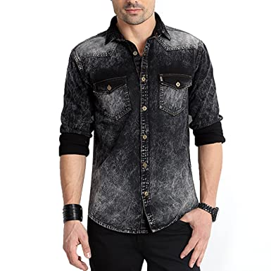 Rodid Men's Solid Casual Denim Black Shirt (B-RODSDF-B-XL): Amazon ...