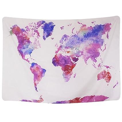 Amazon.com: Sunm boutique Watercolor World Map Tapestry Colorful ...