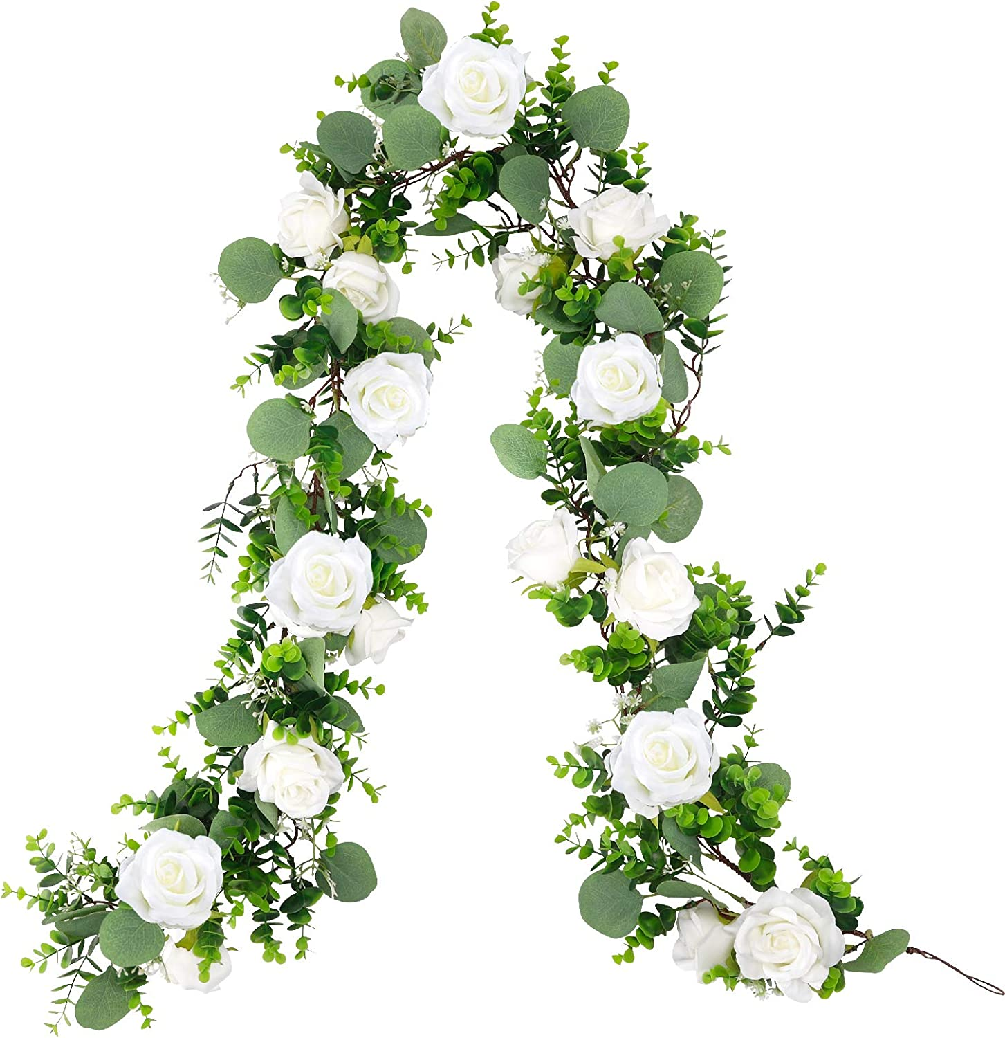 CEWOR 5.9FT Artificial Rose Eucalyptus Garland Faux Greenery Hanging Floral Vines with 17 Flowers for Outdoor Wedding Arch Garden Background Wall Decor (White)