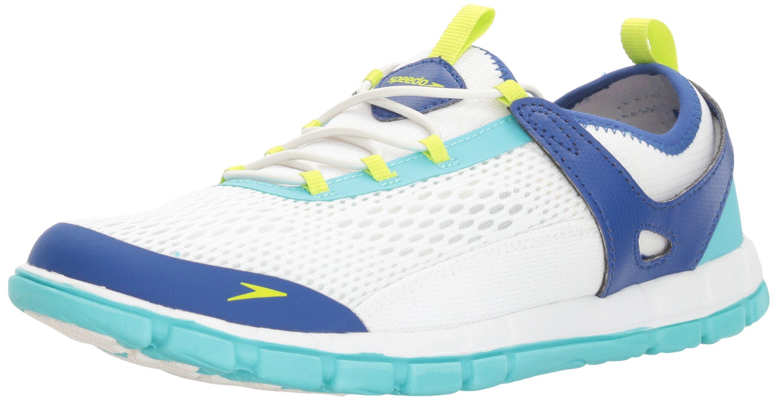 Speedo Women's The Wake Athletic Water Shoe, White/Blue, 9 C/D US
