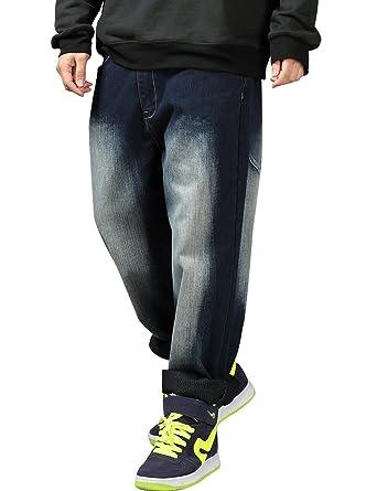 66617b80117 Yeokou Men s Loose Baggy Hip Hop Wash Denim Pants Straight Leg Jeans Dark-Blue  30