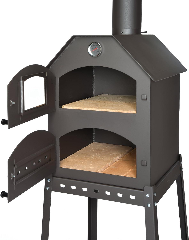 acerto 40487 Horno de pizza profesional para el jardín - 40x53x41 cm * ladrillo de arcilla * termómetro * válvula de mariposa | horno de pizza con doble cámara | horno de pastel de llama con rejilla