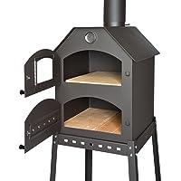 Brotbackofen Pizzaofen schwarz XXL Oven Garten ✔ eckig ✔ stehend grillen ✔ Grillen mit Holzkohle