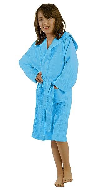 250dbbd017 Amazon.com  robesale Bamboo Cotton Waffle Hooded Kid s Robe  Clothing