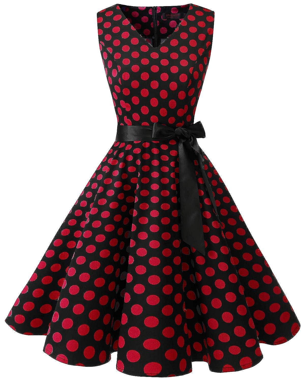 TALLA XXL. Bridesmay Vestido de Cóctel Fiesta Mujer Verano Años 50 Vintage Rockabilly Sin Mangas Pin Up Black Red Dot XXL