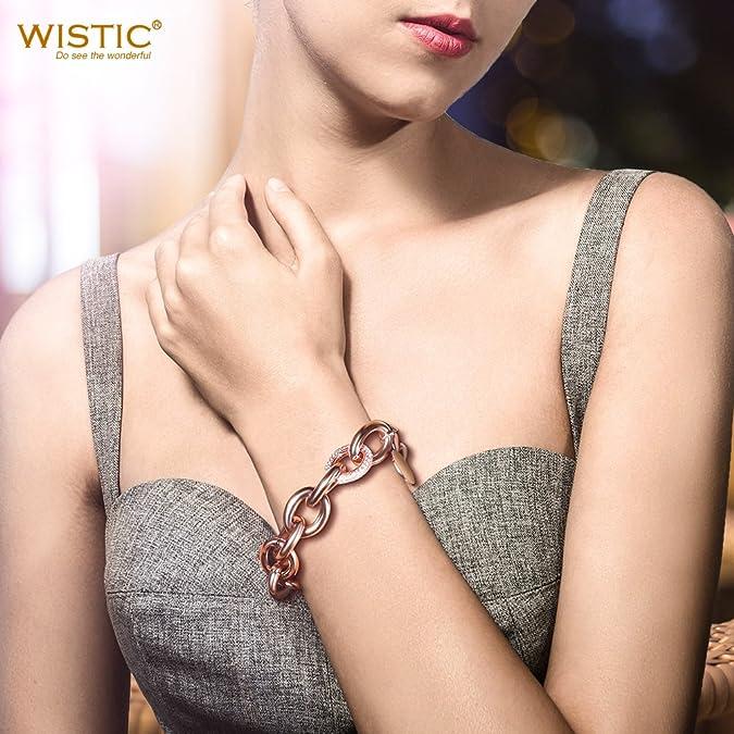 WISTIC Bracelet r/églable pour femme avec cristaux /étincelants