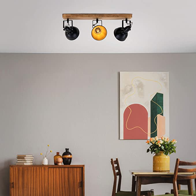 can be rotated and swivelled Black and Gold L x W x A max 25 watts 280 x 280 x 157 mm Briloner Leuchten 4 x E14 Vintage Ceiling Light Retro Ceiling Light Metal and Wood Spotlight