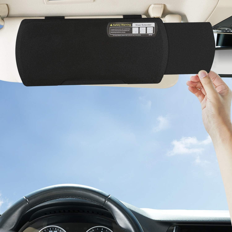 TFY Car Visor Extender Anti-Glare Sun Visor Extender Windshield and Side Window Sunshade and UV Rays Blocker Black
