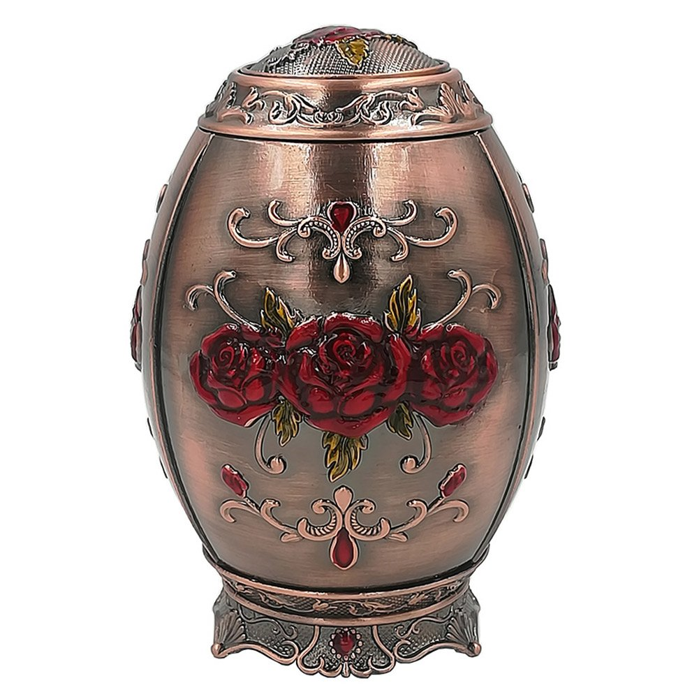 Retro Metal Automatic Toothpick Holder,Push Style Egg Shape Auto Toothpick Case for Home Restaurant Party Decoration,Rose,Red Bronze