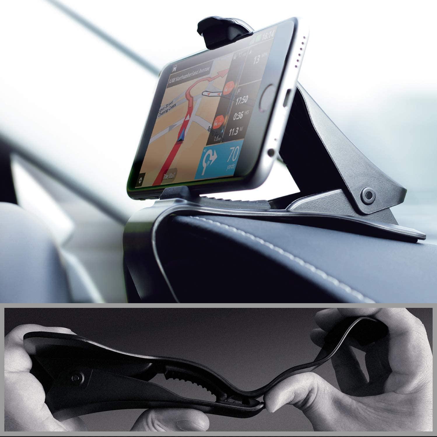 Samsung Car Phone Holder Huawei and More Smartphones Mate2GO Cell Phone Car Mount with Dash Mat HUD Car Cradle with Non-Slip Dash Pad Smartphone Bracket Compatible with iPhone
