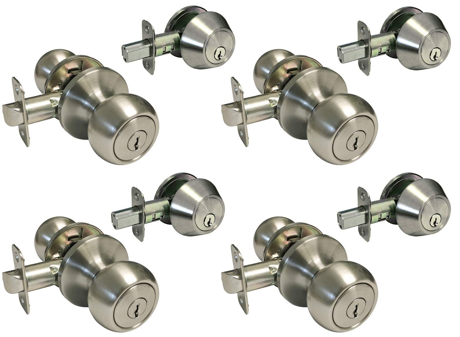4 Sets Satin Nickel Entry Entrance Keyed Round Knob with Matching Single Cylinder Deadbolt (Keyed on The Outside and a Thumb Turn on The Inside) Combo Pack Keyed Alike