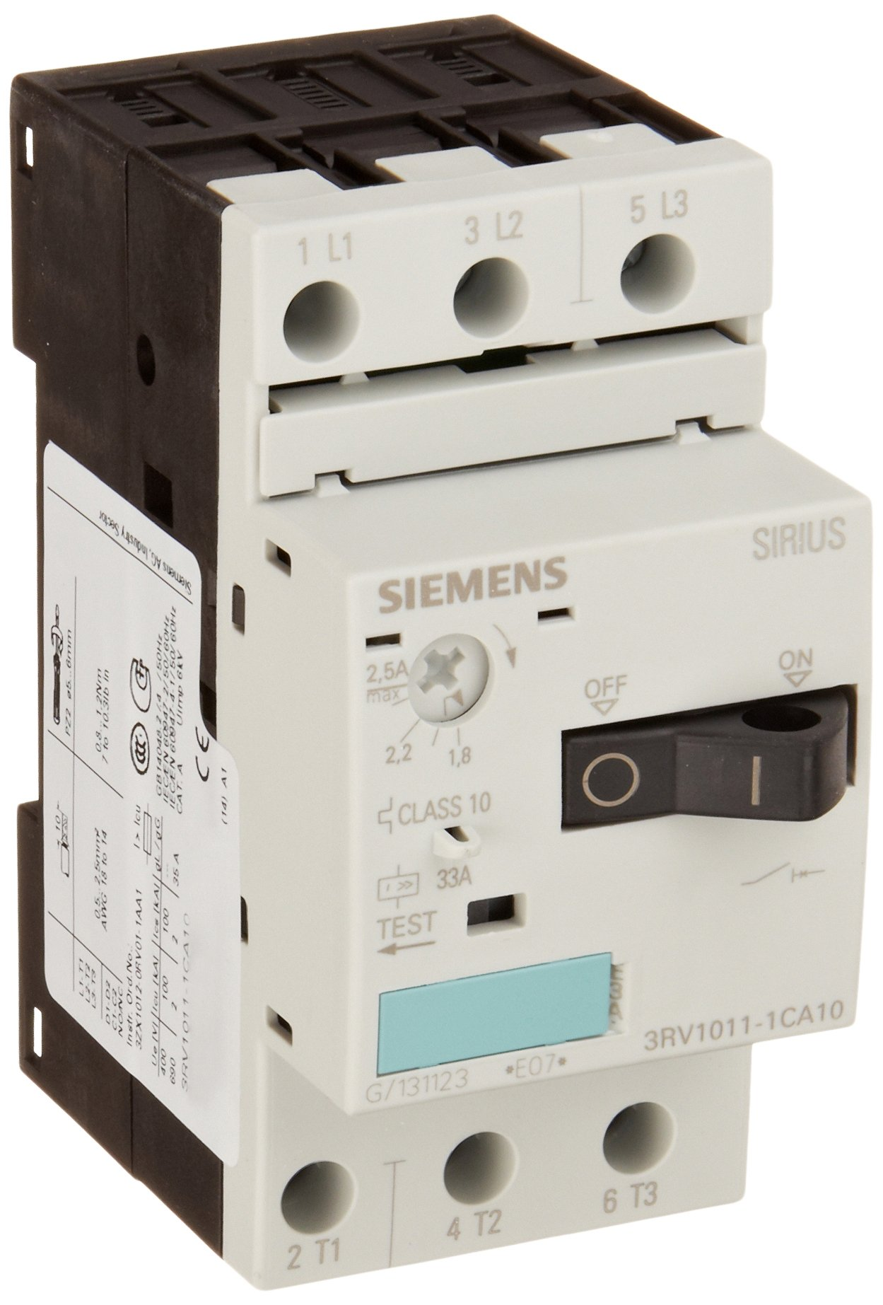 Siemens 3RV1011-1CA10 Motor Starter Protector, Screw Connection, 3RV101 Frame Size, 1.8-2.5 FLA Adjustment Range, 33A Instantaneous Short Circuit Release, 65kA UL Short Circuit Breaking Capacity at 480V