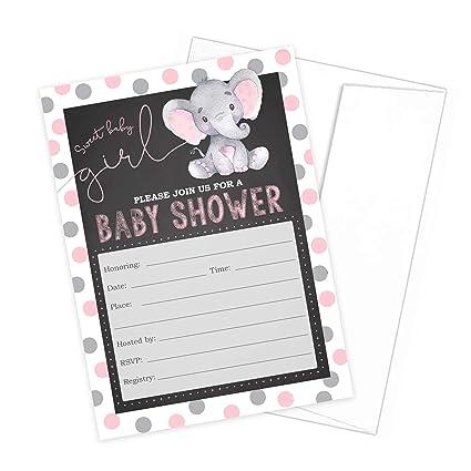 Invitaciones Para Baby Shower Con Diseño De Elefante Color