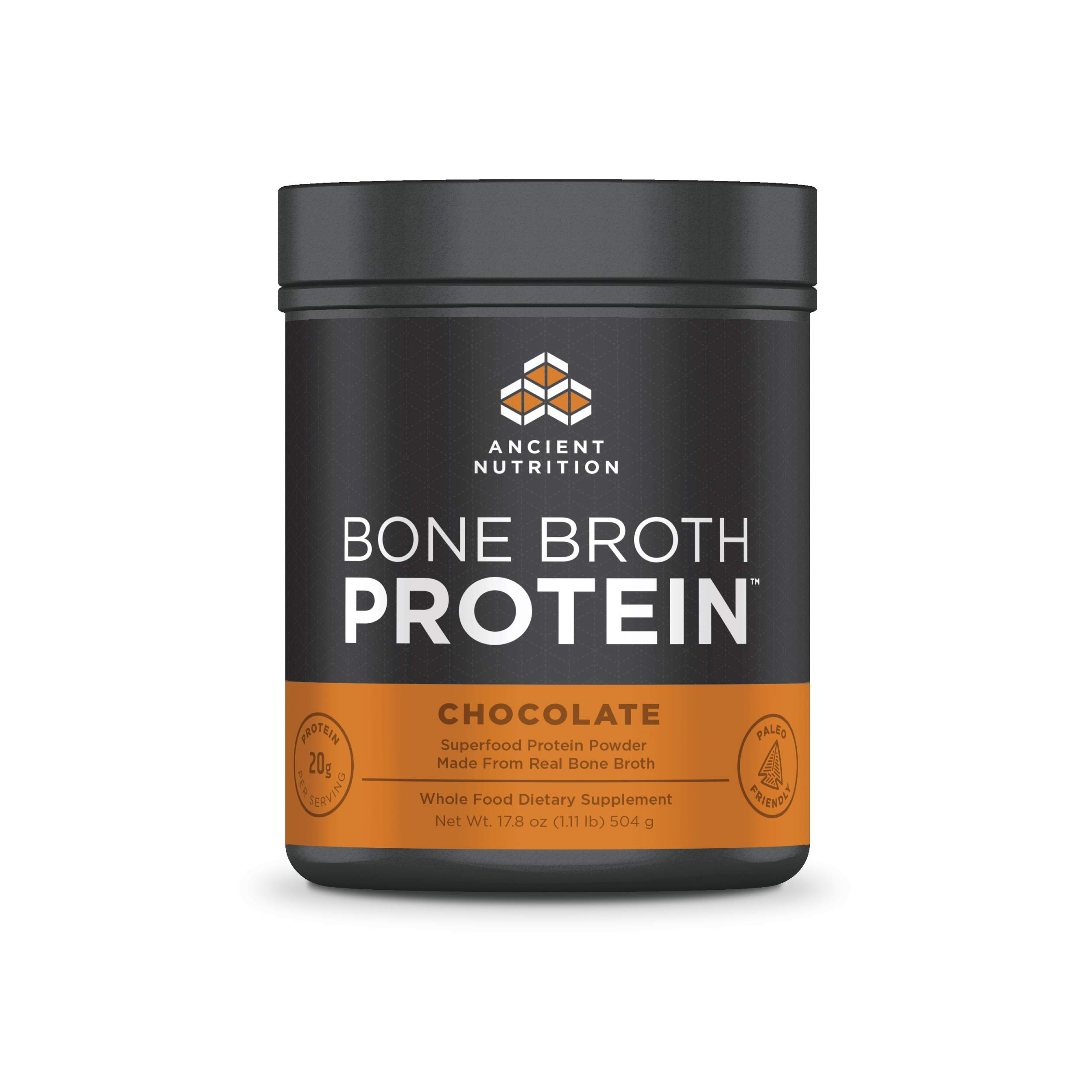 Ancient Nutrition Bone Broth Protein Powder, Chocolate - Dairy Free, Gluten Free and Paleo Friendly - 20 Servings