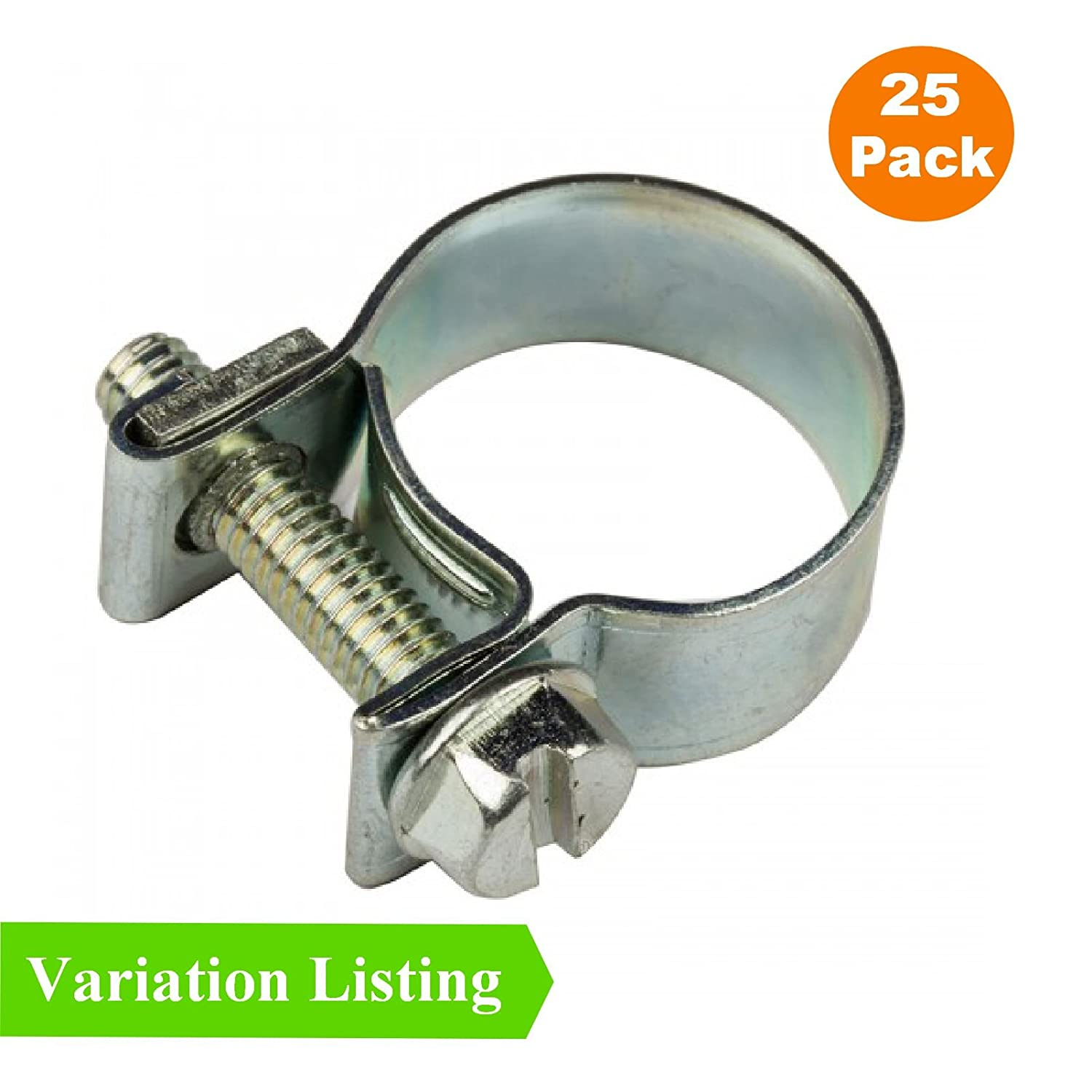 25 x Mini Fuel Line Jubilee Hose Clips Clamps Diesel Petrol Pipe Coolant Radiator [ 8 - 10mm ] Homesmart