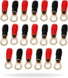 InstallGear 4 Gauge AWG Crimp Ring Terminals Connectors - 20-Pack (10 Positive, 10 Negative)